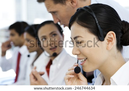 International Call Center - stock photo