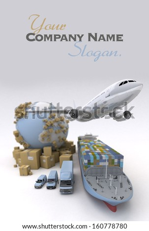 International Cargo transportation image . Elements of this image furnished by NASA, in the title - stock photo