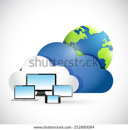 international cloud computing network concept illustration design over a white background - stock photo