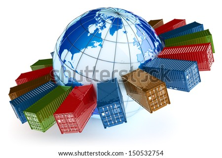 International container transportation icon. Elements of this image furnished by NASA. - stock photo