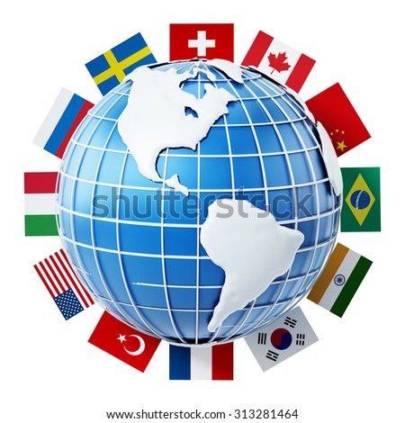 International country flags on the globe isolated on white background - stock photo