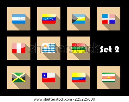 International country flags set on flat icons with Uruguay, Peru, Chile, Venezuela, Colombia, Jamaica, Dominican Republic, Honduras, Bahamas and Suriname - stock photo