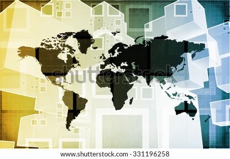 International Crisis or Worldwide Global Problem as Art - stock photo