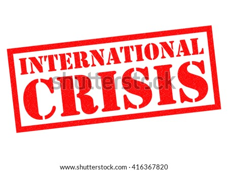 INTERNATIONAL CRISIS red Rubber Stamp over a white background.