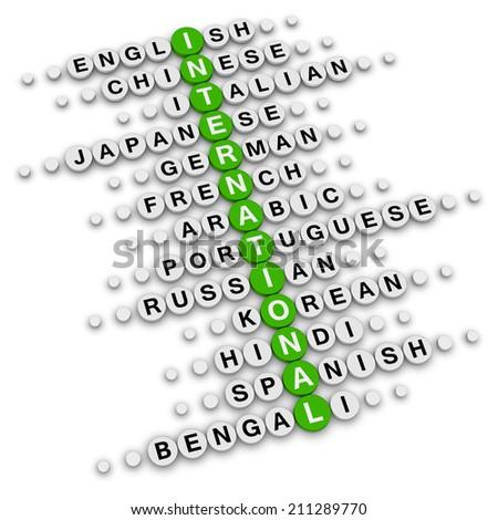 international crossword puzzle - stock photo