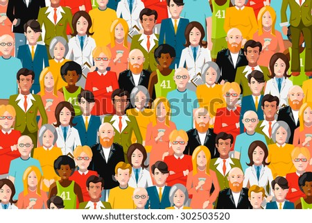 International crowd of people, flat color illustration