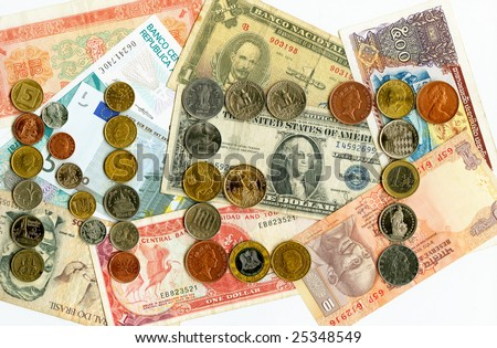 International currencies and coins.