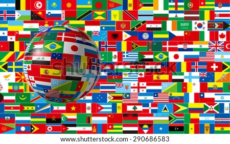 International ,3d, global, flag