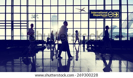 International Departure Terminal Business Travel Transportation Flight Concept - stock photo