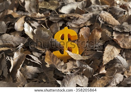 International economy money icon and currency units on autumn leaves - stock photo