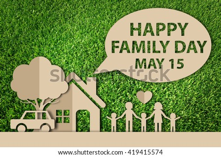 International Family day concept. Paper cut of family on green grass. made in 3d style. - stock photo