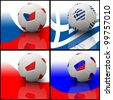 International flag on 3d football for Euro 2012 Group A - stock photo