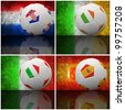 International flag on 3d football for Euro 2012 Group C - stock photo