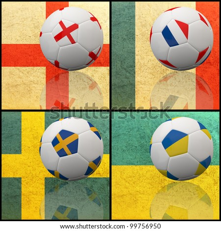 International flag on 3d football for Euro 2012 Group D - stock photo