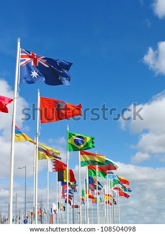 International flags on  waterfront of Rotterdam. Netherlands. - stock photo