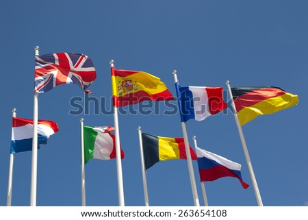 International Flags with blue sky. - stock photo