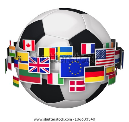 International football championship concept: soccer ball with group of color world flags isolated on white background