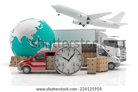 International goods transport - Trade in Asia - Made in China 3 - 3D render - stock photo