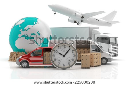 International goods transport - Trade in Europe - Made in Europe 3 - 3D render - stock photo