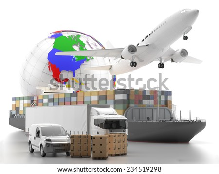 International goods transport with globe on background - 3D Render - stock photo