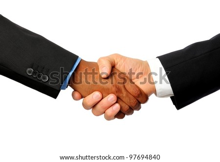 International Handshake with white and dark skinned businessman
