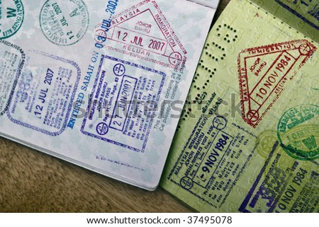 International Immigration Stamps and Visas in a passport