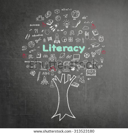 International literacy day concept: Tree of knowledge and education on black chalkboard background with freehand sketch doodle of school supplies: Blackboard with white and pastel chalk drawing:  - stock photo