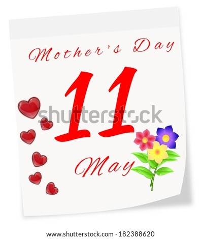 International Mother's Day on May 11 th. Page of calendar - stock photo