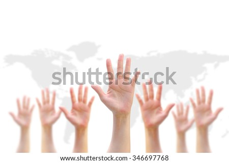 International national Human Rights Day GYSD Volunteer conceptual idea Many people blur hands raising upward on white background world map showing synergy participation in social justice economic area - stock photo