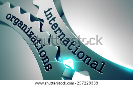 International Organizations on the Mechanism of Metal Gears. - stock photo