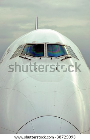 International passenger airplane front view