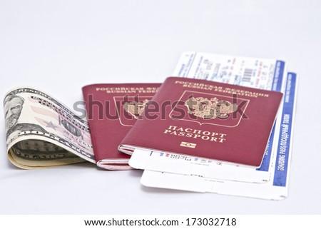 International passport, cash and tickets  - stock photo