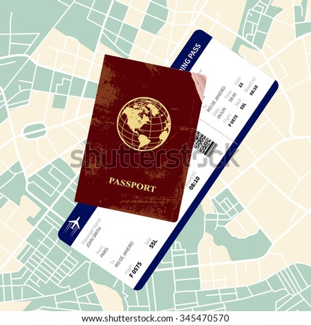 International red passport with a boarding pass on a map.  - stock photo