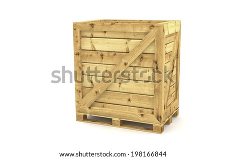 International Shipping wood crate on white background - stock photo