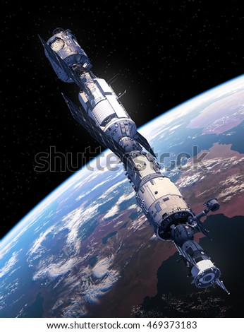 International Space Station Flying Over The  Earth. 3D Illustration.