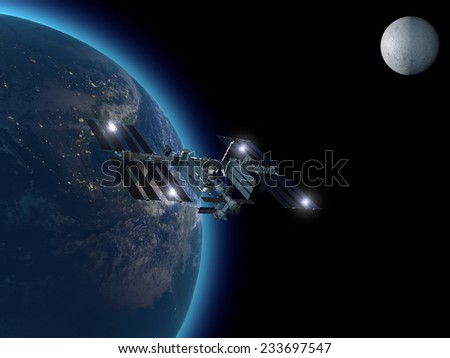 International Space Station in orbit around the earth. Element of this image are furnished by NASA