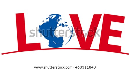 International Symbol for Love, isolated with copy space on white