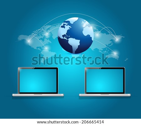 international technology connection illustration design over a white background - stock photo