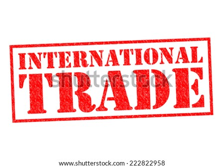 INTERNATIONAL TRADE red Rubber Stamp over a white background. - stock photo