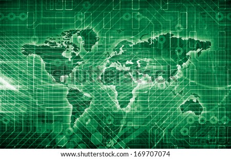 International Trade System with Economies and Commodities - stock photo