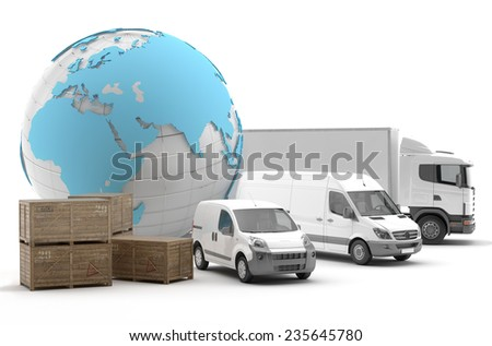International transport of goods by road - 3D Render