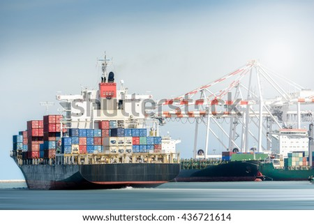 International Transportation Shipping, Container Cargo freight ship with ports crane bridge in harbor, Logistic Import Export background concept. - stock photo