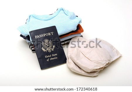 International travel with baby or infant concept