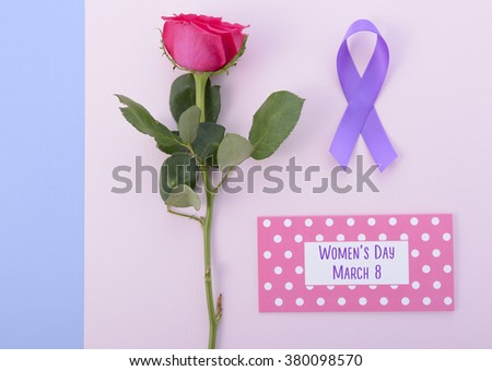 International Womens Day flat lay with pink rose, purple ribbon on pink and blue background.