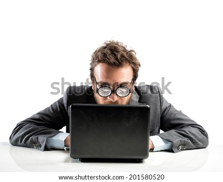 Internet addiction concept with clock in the glasses - stock photo