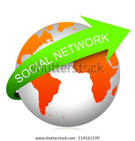 Internet And Computer Concept Present By Green Social Network Arrow On The Orange Globe Isolated On White Background - stock photo