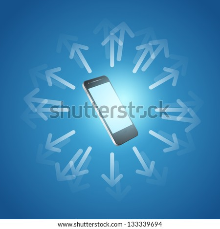 Internet and mobilephone concept symbol. Raster version of the loaded vector. - stock photo