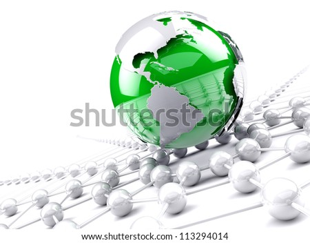 internet and networking concept,Green globe world map. - stock photo