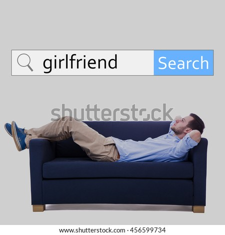 internet and online dating concept - search bar and man lying on sofa and dreaming about new girlfriend - stock photo