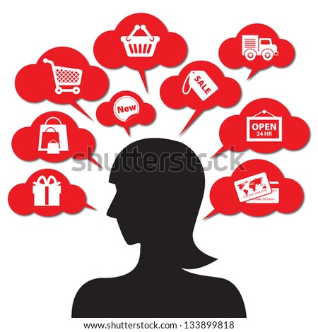 Internet and Online Shopping Concept Girl 01 With E-Commerce Icon - Isolated on White Background - stock photo